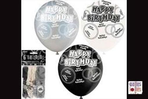 6 Pack Black Happy Birthday Balloons
