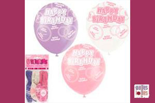 6 Pack Pink Happy Birthday Balloons