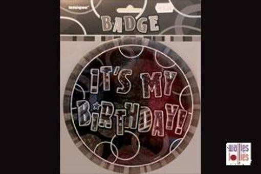 Black Happy Birthday Badge