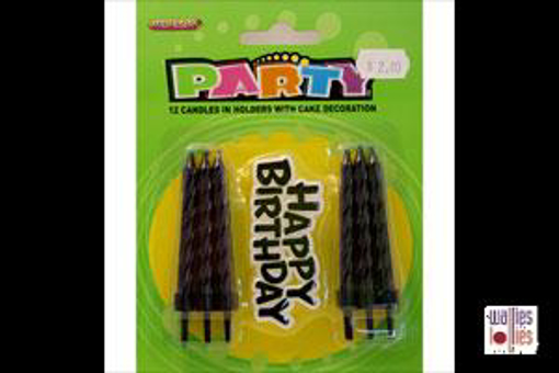 Black Happy Birthday Decoration and Candles