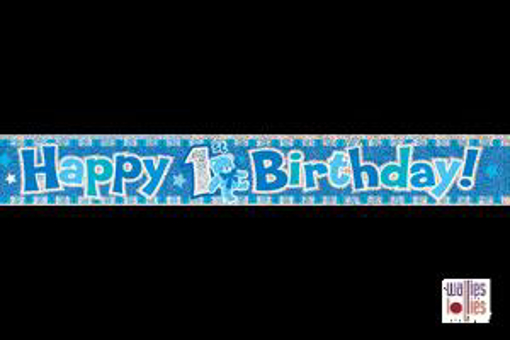 Blue Happy 1st Birthday Foil Banner