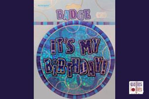 Blue Happy Birthday Badge
