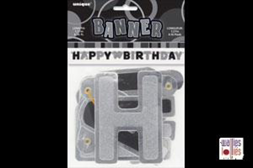 Happy Birthday Black Jointed Banner
