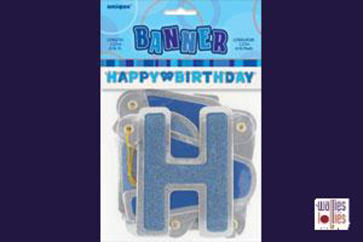 Happy Birthday Blue Jointed Banner