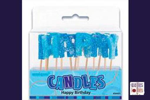 Happy Birthday Blue Stick Candles