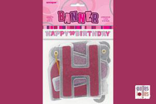 Happy Birthday Pink Jointed Banner