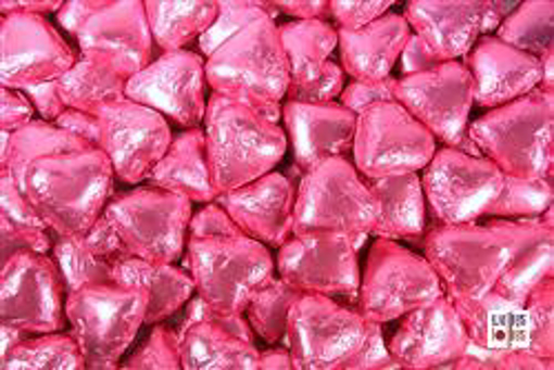 Hot Pink Foiled Hearts in 500g Bag