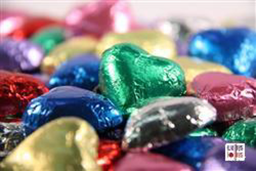 Mixed Colors Foiled Hearts in 500g Bag