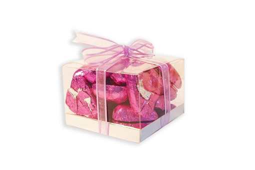 Mother's Day Pink Foil Hearts Small Cube Gift Box 160g
