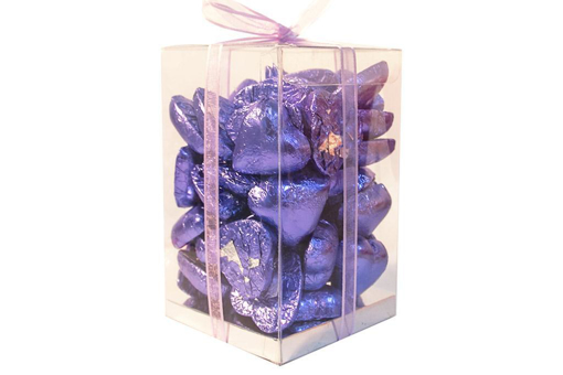 Mother's Day Purple Foil Hearts Large Cube Gift Box 500g