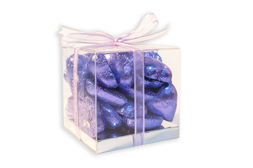 Mother's Day Purple Foil Hearts Medium Cube Gift Box 300g