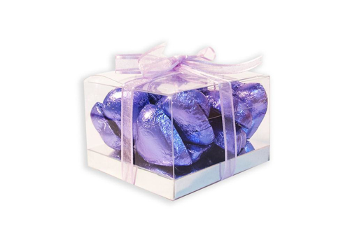 Mother's Day Purple Foil Hearts Small Cube Gift Box 160g