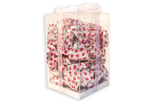 Mother's Day Silver Foil Hearts Large Cube Gift Box 500g