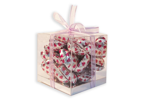 Mother's Day Silver Foil Hearts Medium Cube Gift Box 300g