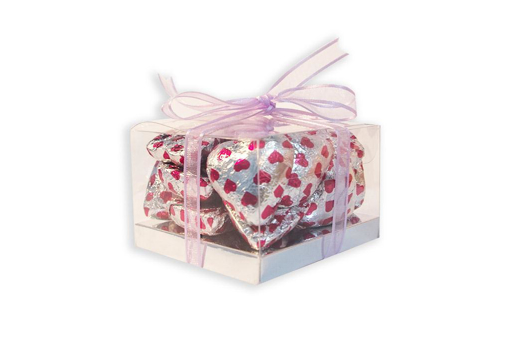 Mother's Day Silver Foil Hearts Small Cube Gift Box 160g