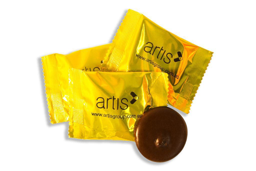 Orange Flavoured Flow Wrapped Restaurant Chocolate with branding 28� Per chocolate