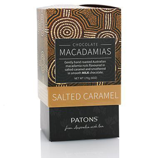PATONS ARTISAN MILK CHOCOLATE SALTED CARAMEL MACADAMIA GIFT BOX 170g