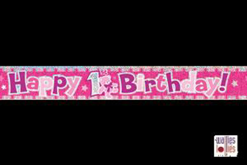 Pink Happy 1st Birthday Foil Banner