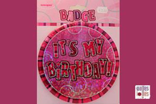 Pink Happy Birthday Badge