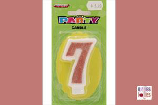 Pink Single Candle - Number 7