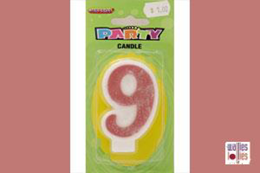 Pink Single Candle - Number 9
