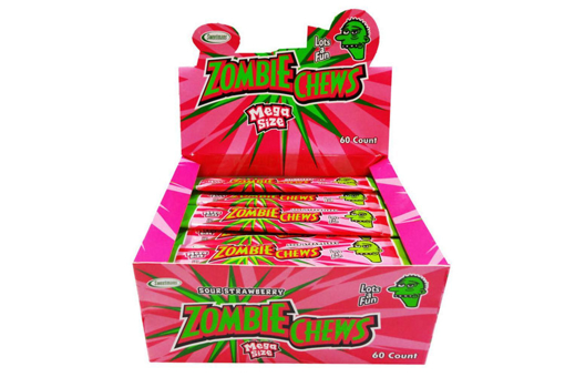 PRE ORDER -ZOMBIE CHEW SOUR STRAWBERRY FLAVOUR 60 PACK
