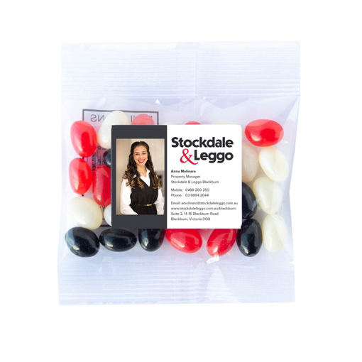 Stockdale & Leggo -Corporate Colours 30g bags of jellybeans with labels $0.75c per bag