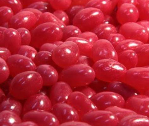 Picture of Dark Pink Jelly Beans Mini in a 1kg Bag.